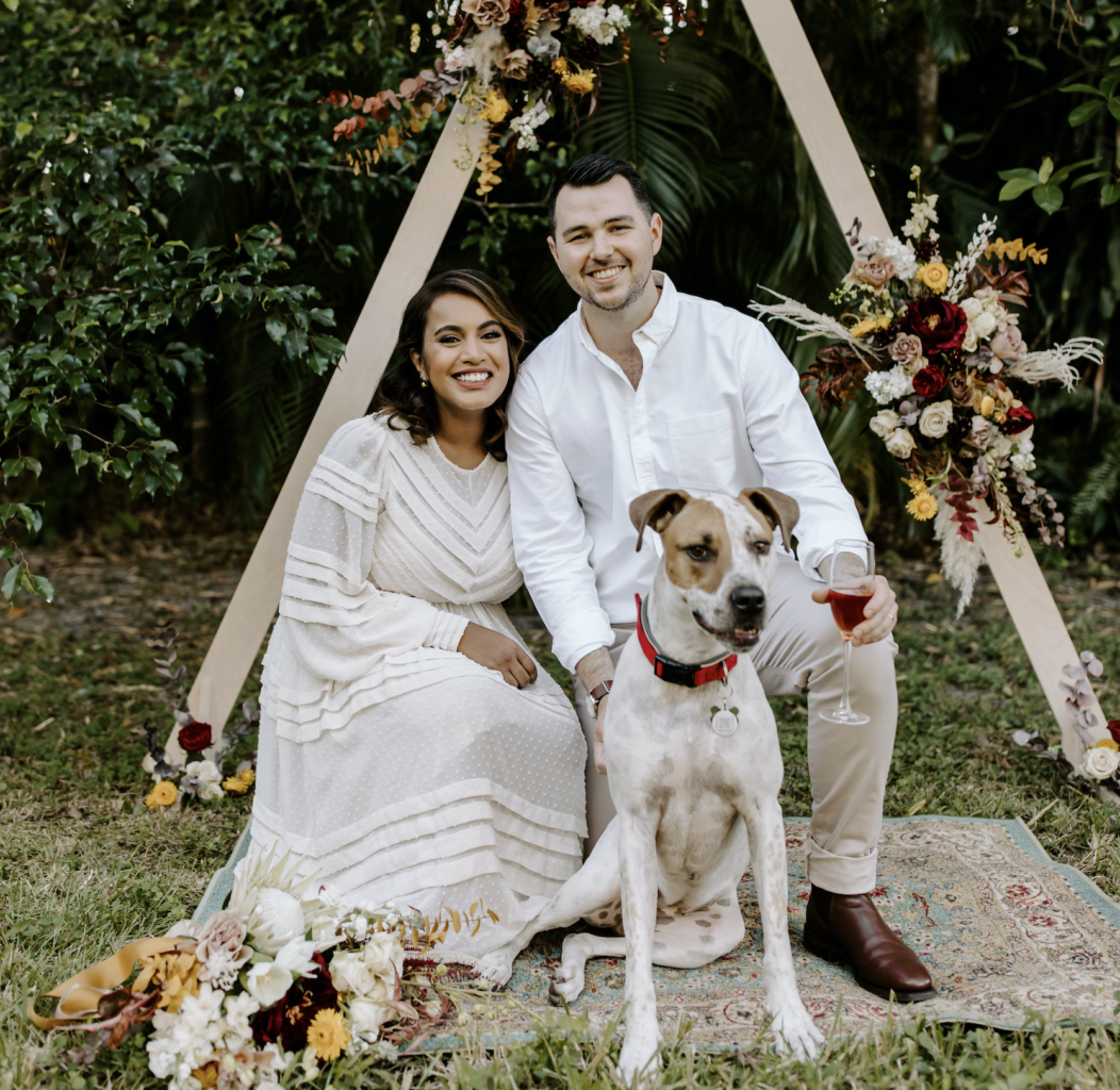 Miami Bohemian Elopement Wedding The Creative's Loft Bride and Groom with their dog at altar