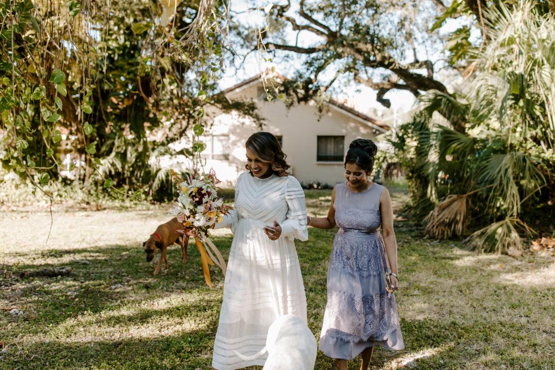 Miami Bohemian Elopement Wedding The Creative's Loft Bride Walking down the aisle