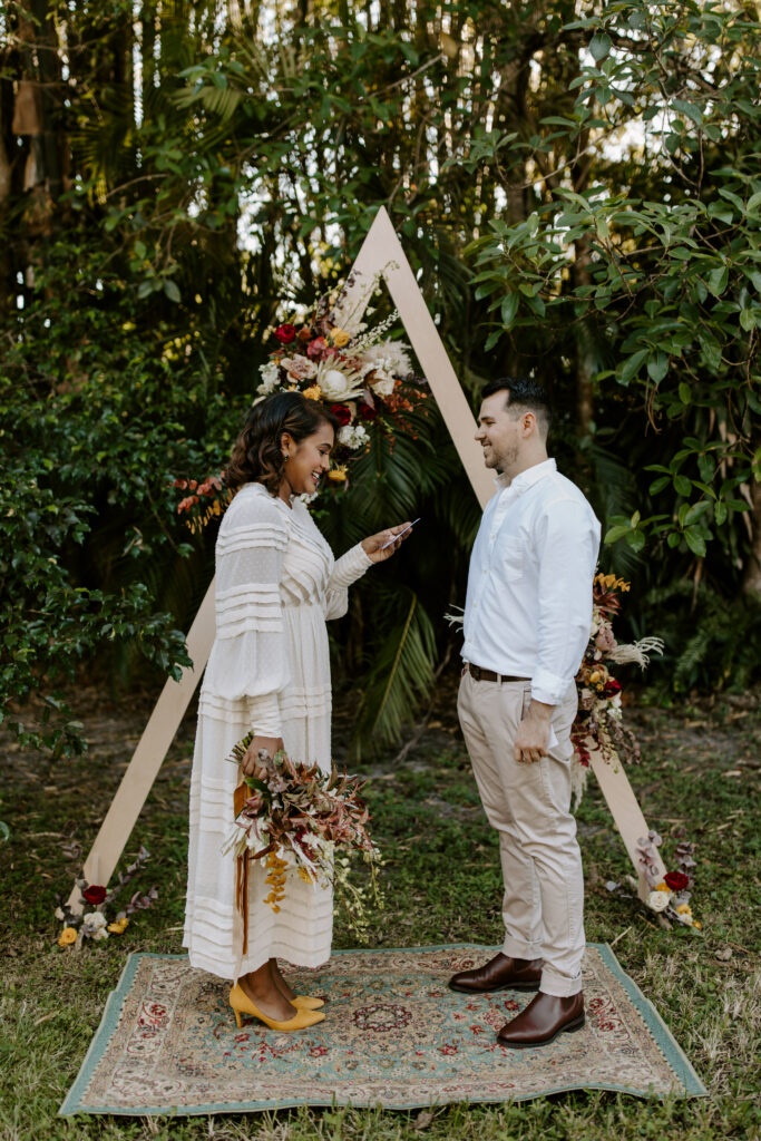 Miami Bohemian Elopement Wedding The Creative's Loft Bride and Groom at the altar