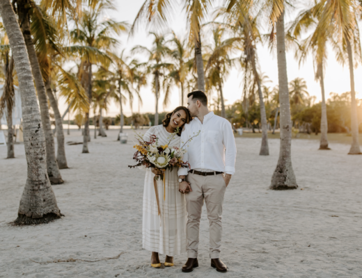 Miami Bohemian Elopement Wedding The Creative's Loft Emily Prada Photography Couple standing in front of camera