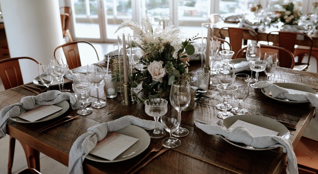 Romantic Industrial Reception at Penthouse Riverside Wharf. Table details