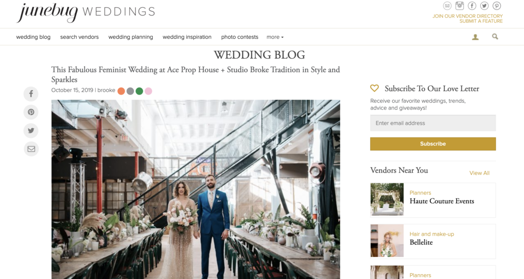 Featured on Junebug Weddings our ACE PROPS Wedding in Miami