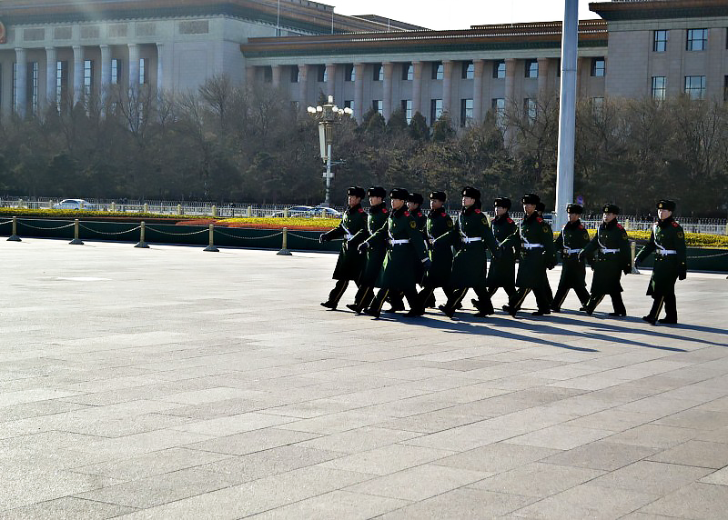 marching guards beijing china tiananmen square ps