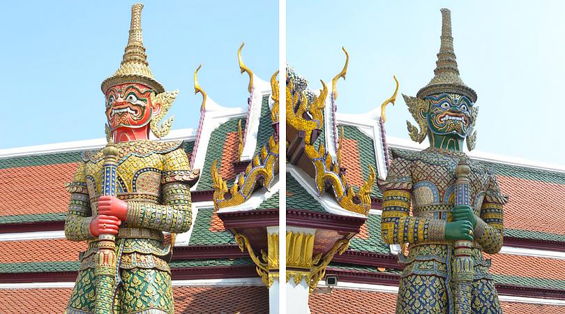 thailand bangkok wat po detailed men