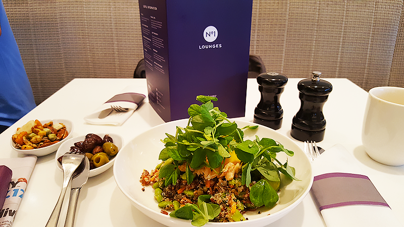 No 1 Lounge London Heathrow Review - Travel with Mia - Lunch