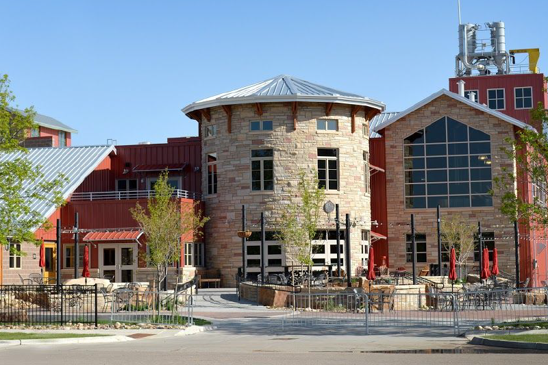 image of the front of odell brewing company in fort collins, colorado