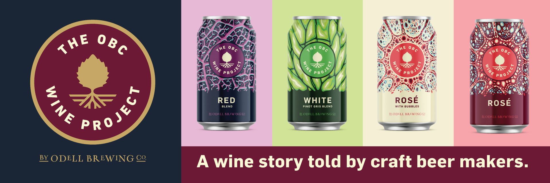 cover image of Odell Wine Project including cans of all wine varietals, the red blend, white pinot gris blend, rose with bubbles, and the rose