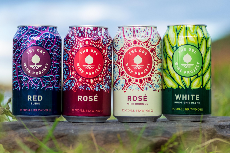 image of 12oz cans of the four odell wine project flavors, red blend rose, rose with bubble, and the white pinot gris blend