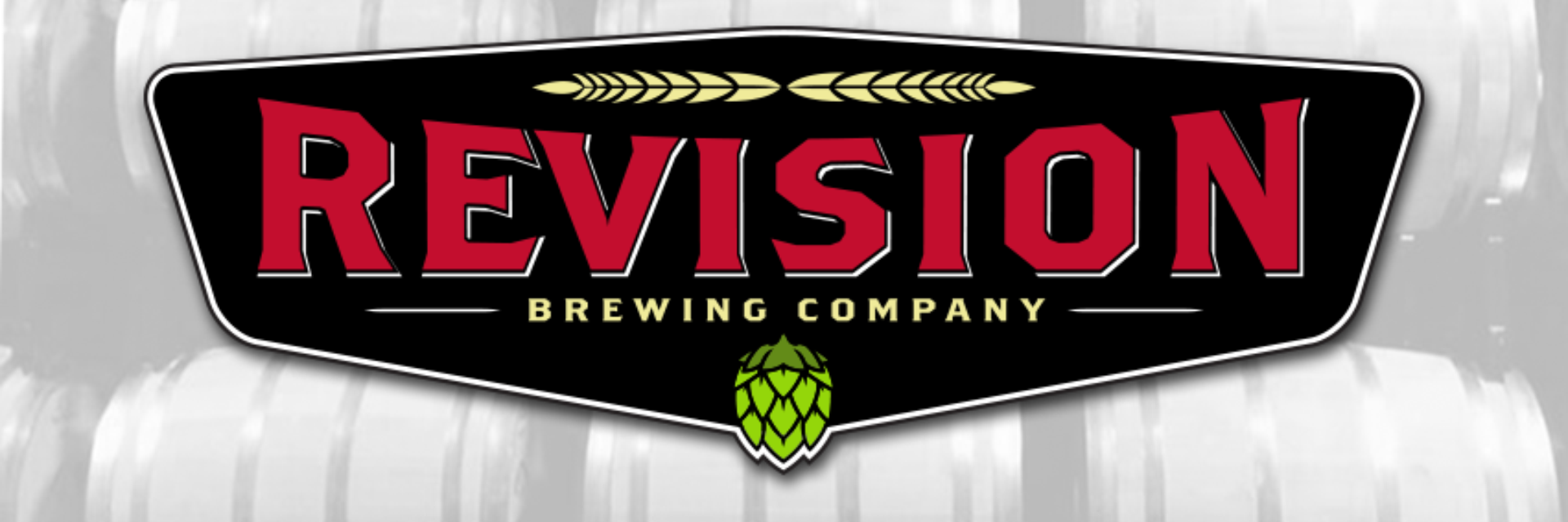cover image of revision brewing company, featuring the main logo overlaid on a photo a beer barrels
