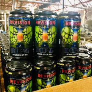 photo of six packs of revision brewing dipa doubled up ipa beer inside the revision brewery in reno, nevada