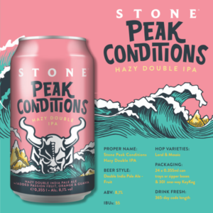 product info sheet for stone brewing peak conditions hazy double ipa including style characteristics, alcohol by volume, hop varieties and other product info