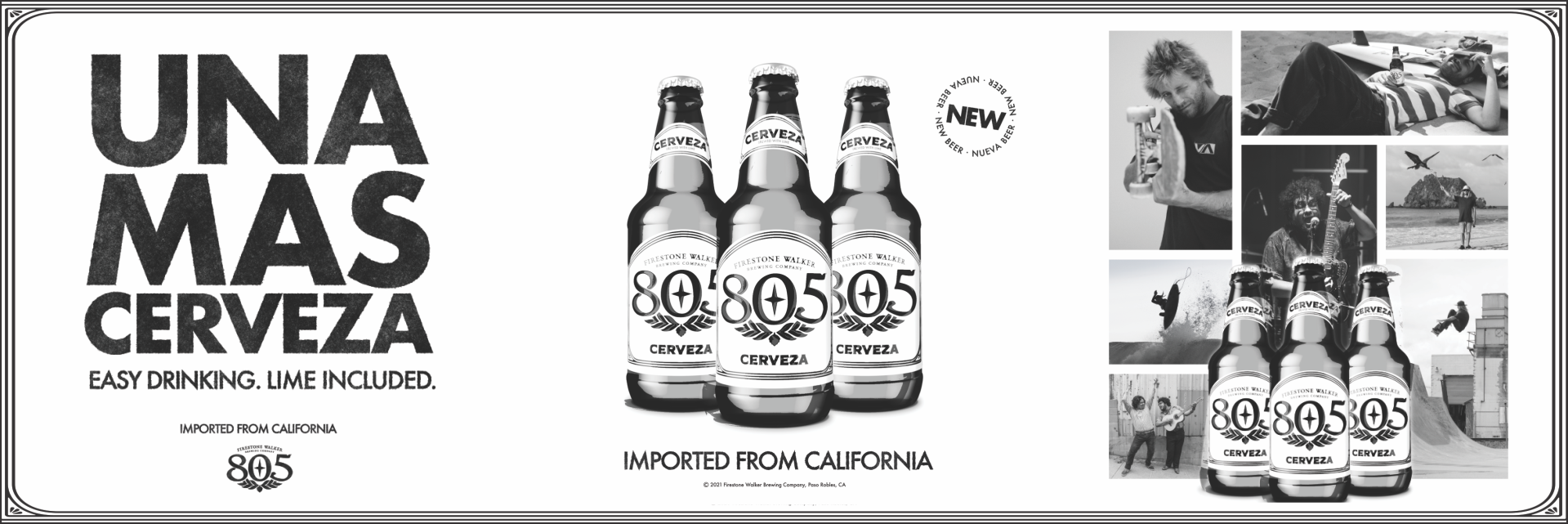 cover image of firestone walker 805 cerveza including the slogan una mas cerveza and images of firestone walker 805 cerveza bottles