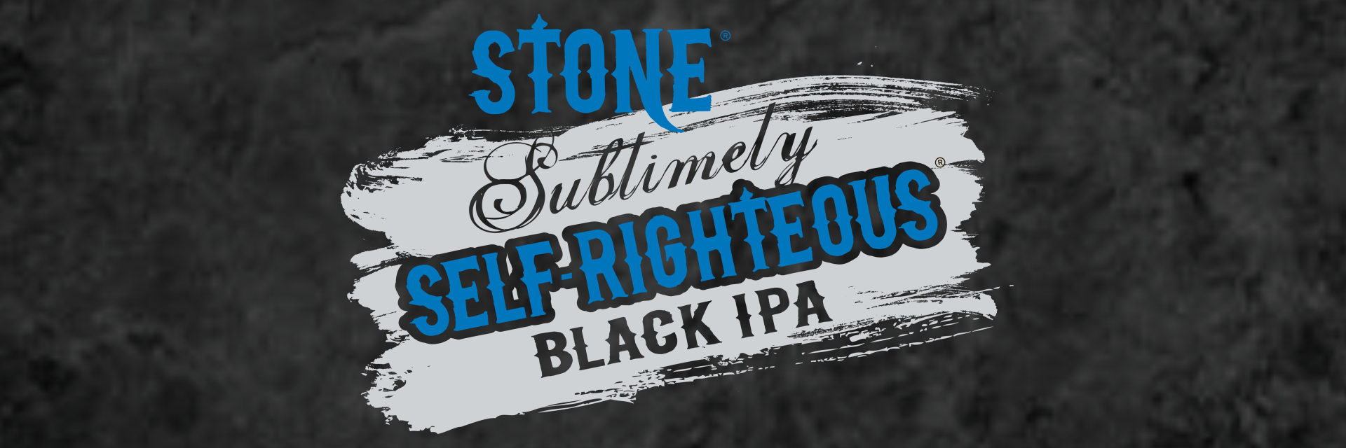 header image of the stone brewing sublimely self righteous logo against a black background
