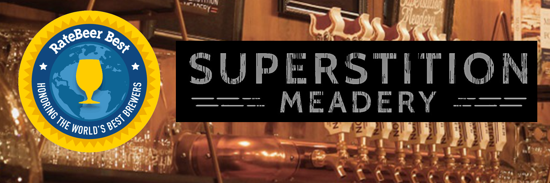header image of superstition meadery with the meadery logo along side the rate beer best badge