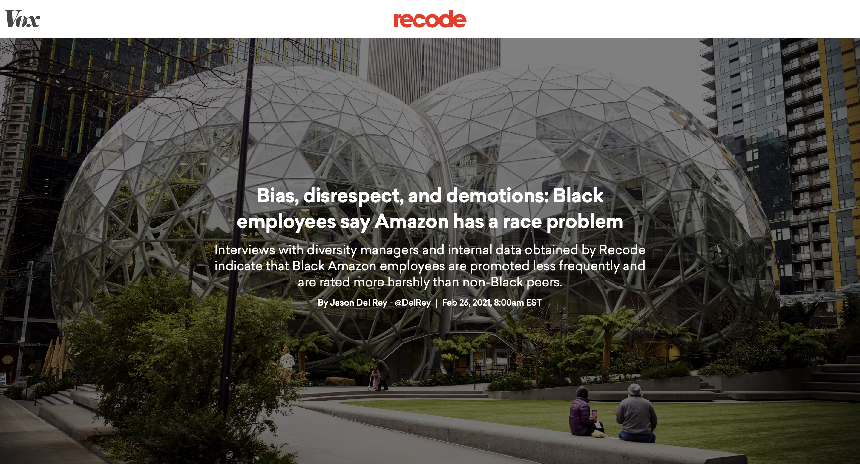 Vox Recode: Bias, disrespect, and demotions: Black employees say Amazon has a race problem