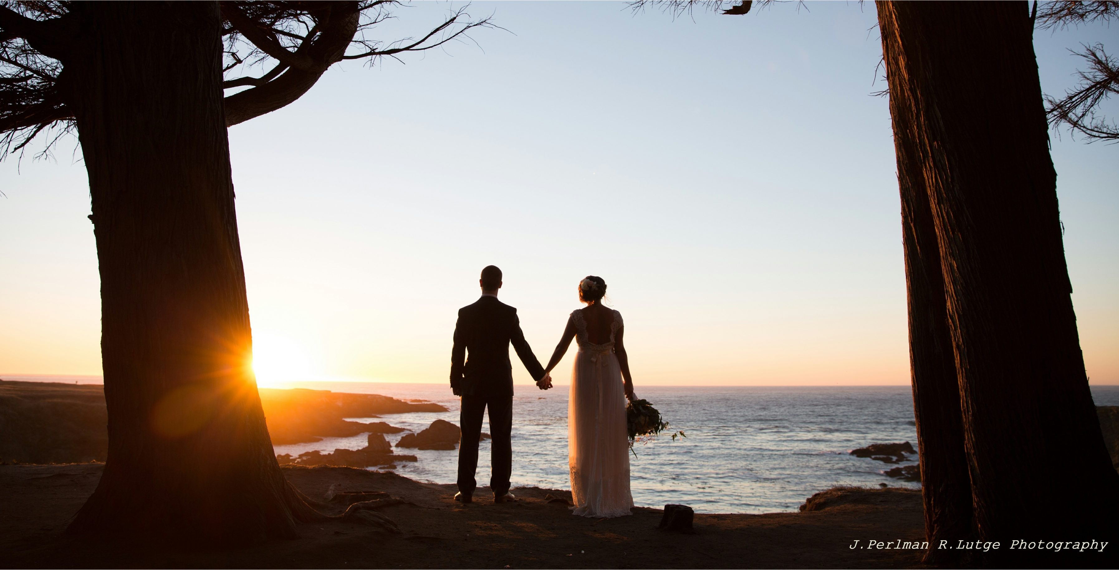 Their Elope Mendocino wedding ceremony completed, Danielle and Christopher watch the sun set from the bluffs.