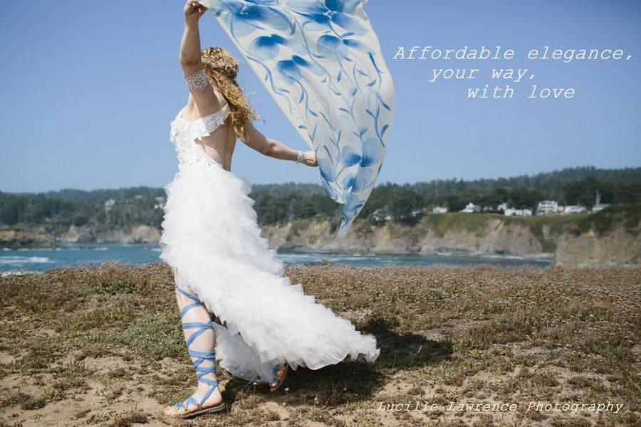 Nicole flings her shawl to the wind in joy after her Elope Mendocino wedding.