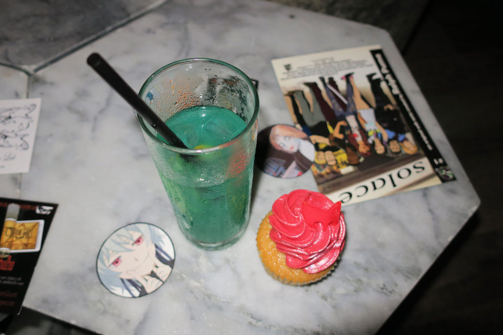 the Captain Marvel drink and a Scarlet Witch cupcake