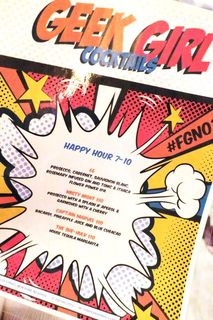 themed drinks menu