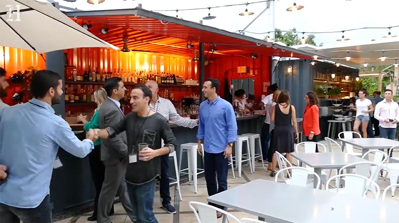 People enjoying food at Miami culinary incubator, The Wynwood Yard.