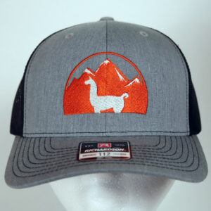 gray and black llama hat embroidered