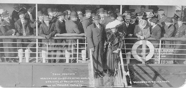 More details Jack Johnson arriving in Vancouver BC on the 9th of march 1909 as World Heavyweight Champion