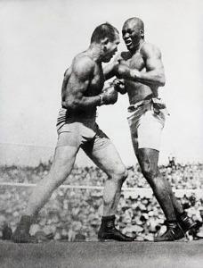 Action shot of Jack Johnson fighting Jim Jeffries at Reno in 1910. Jeffries was beaten over 15 rounds. 1919 Reno, Nevada, USA