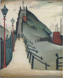 L.S.Lowry: A Footbridge, 21 x 17 inches, 1938. For books on L.S. Lowry click here.