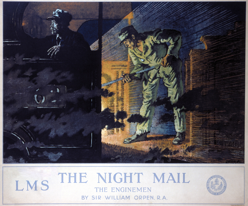 Poster produced for London Midland & Scottish Railway (LMS) as one of a series of sixteen commissioned by the LMS from members of the Royal Academy in 1924. Each artist was paid a fee of £100 and received royalties on the sale of prints. Artwork by Sir William Orpen, who studied at the Dublin Metropolitan School of Art and at the Slade Art School. He was an Official War Artist from 1917 to 1919 and was knighted in 1918. He was best known for his portrait and genre work.