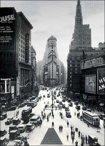 Times Square-New York City-Vintage Black and White, Photography Poster Print,