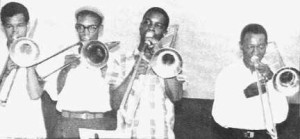 (left to right) Rico Rodriguez, Don Drummond, Carlos Malcolm and Rupert Anderson.