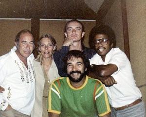 Henry Lewy, Joni, Jaco, Herbie Hancock, and Peter Erksine during the Mingus sessions.