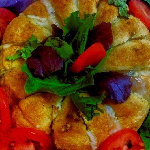 Festive cheese and garlic bread