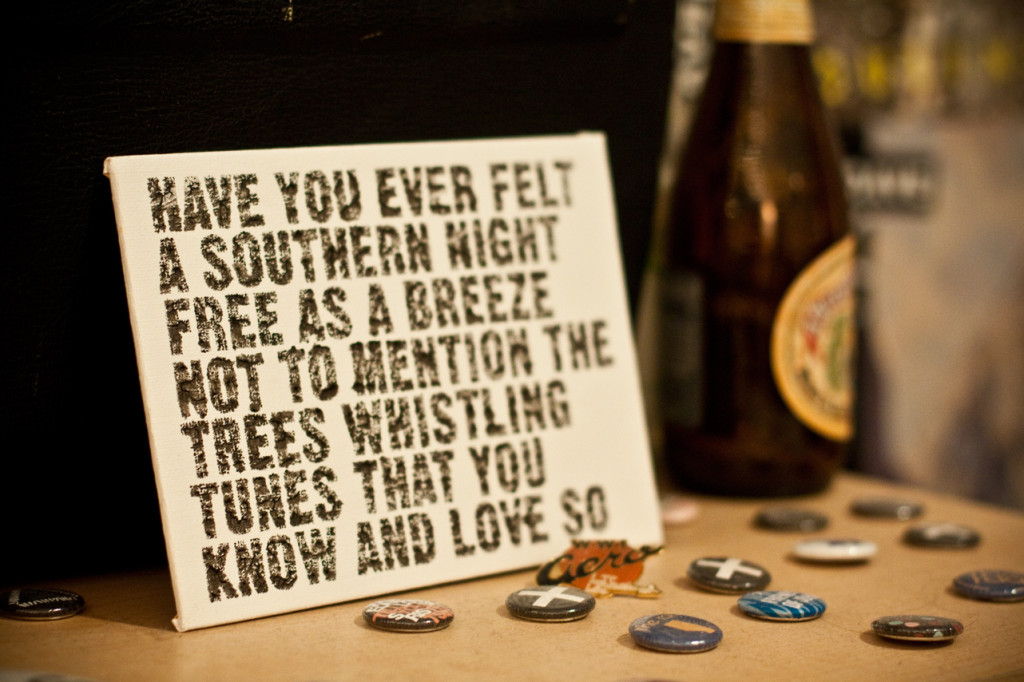 Southern Nights - lyrics on canvas by Sarah Mulligan.