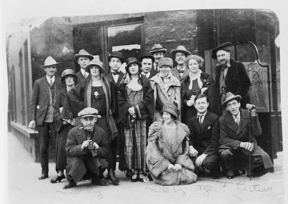 Dada Group 1921 - Man Ray, Mina Loy, Tristan Tzara, Jean Cocteau, Ezra Pound, Jane Heap, Kiki,Dennison.