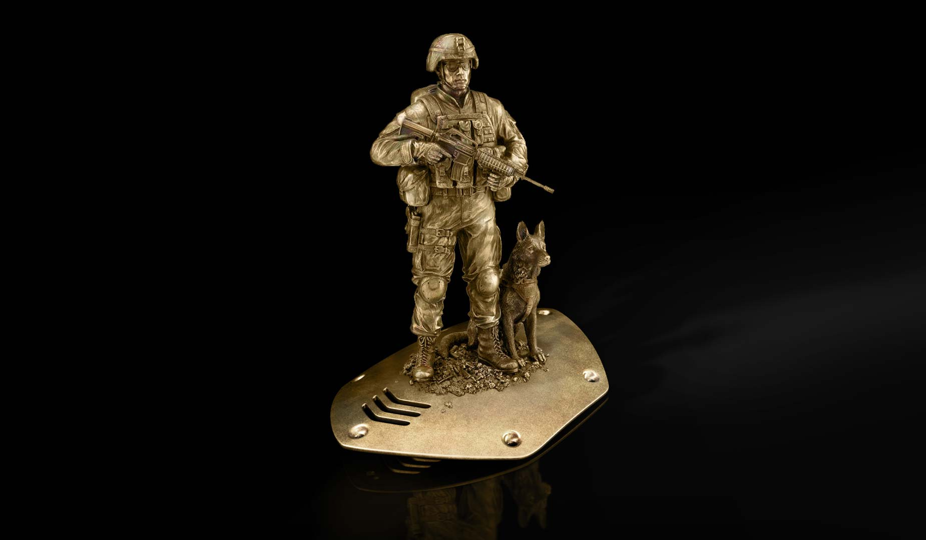 3D Modern Soldier with Canine