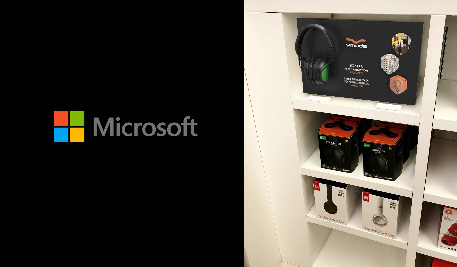 Microsoft Product Placement Store Display Cubby Close UP