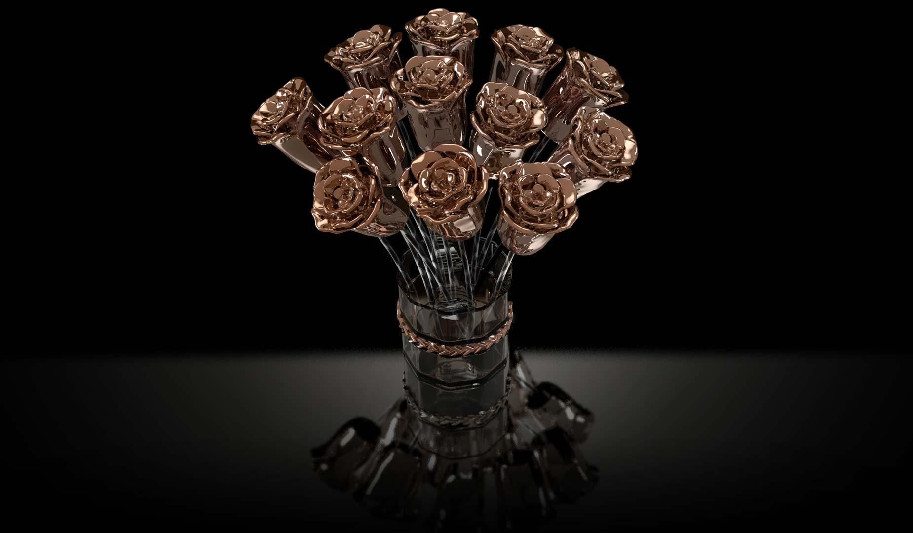 3D Rose Gold Roses