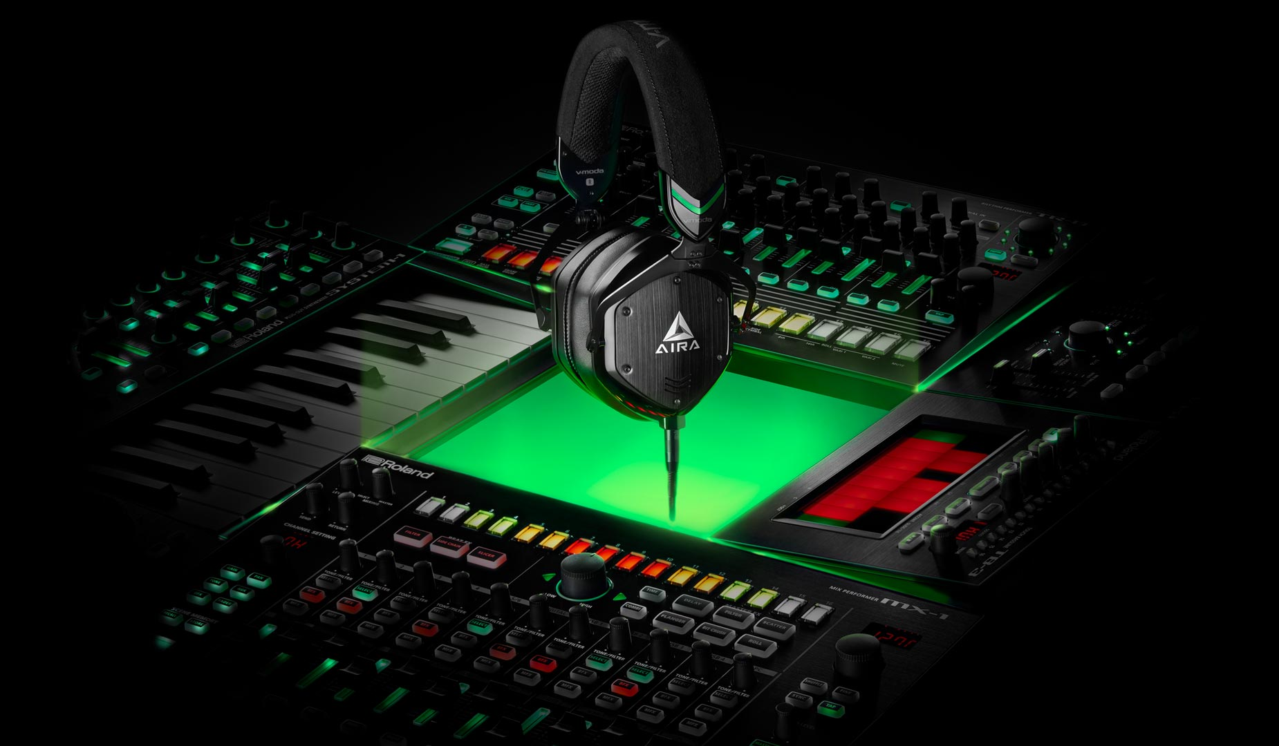 Aira Headphones Floating Over Keyboards