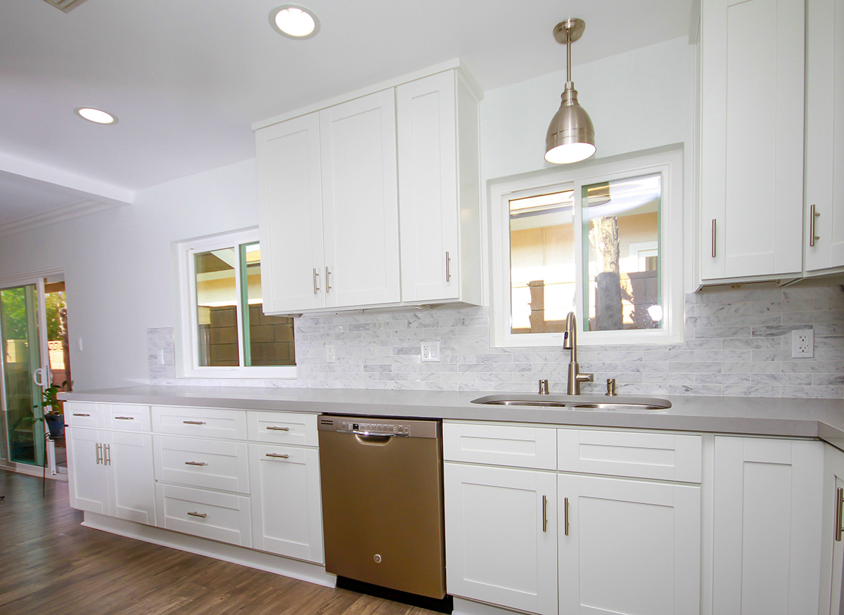 Kitchen Remodeling with White Shaker Cabinets Marble Backsplash in Chatsworth CA