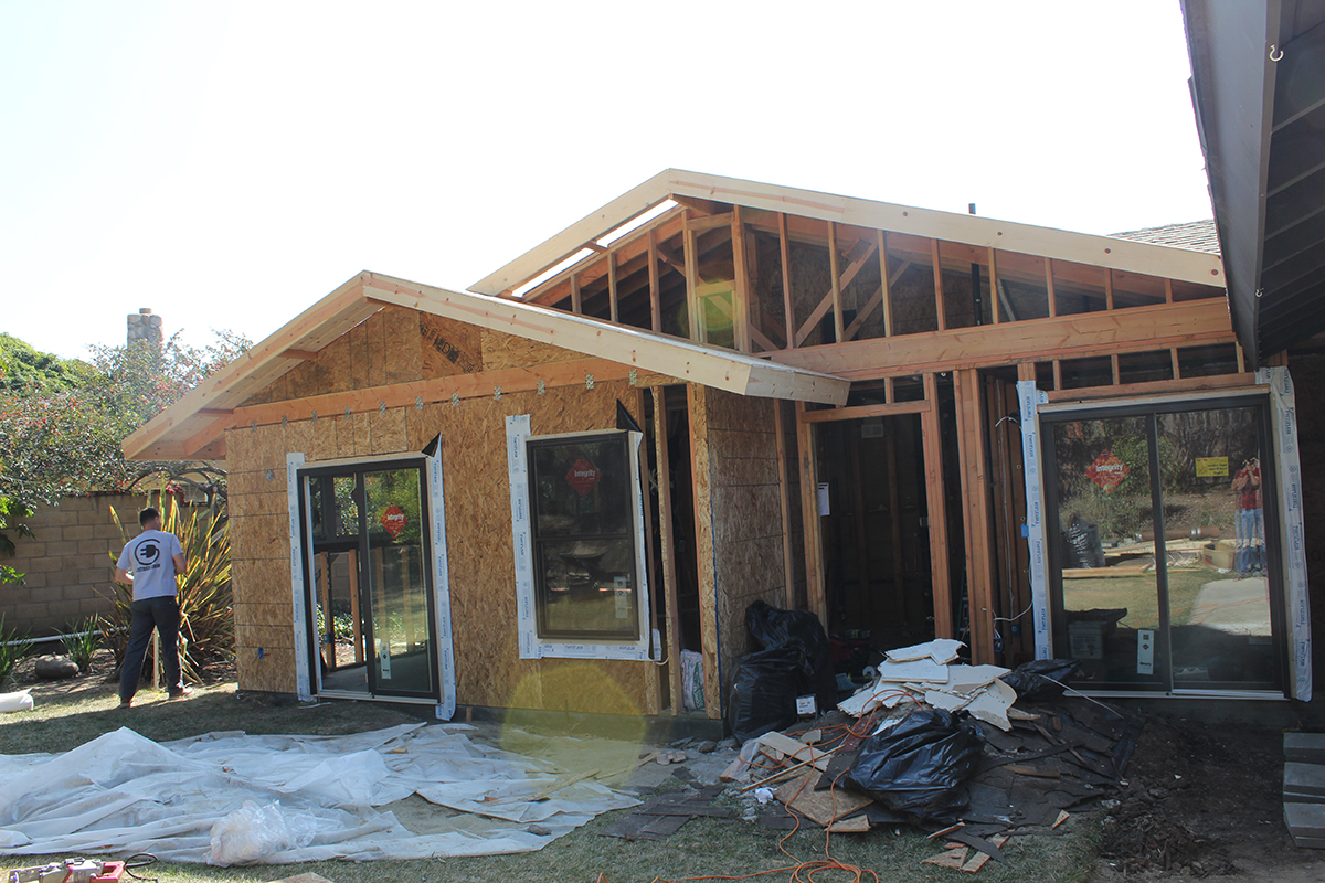 Room Addition for Enlarged Living Room in Tarzana Rough Build Phase
