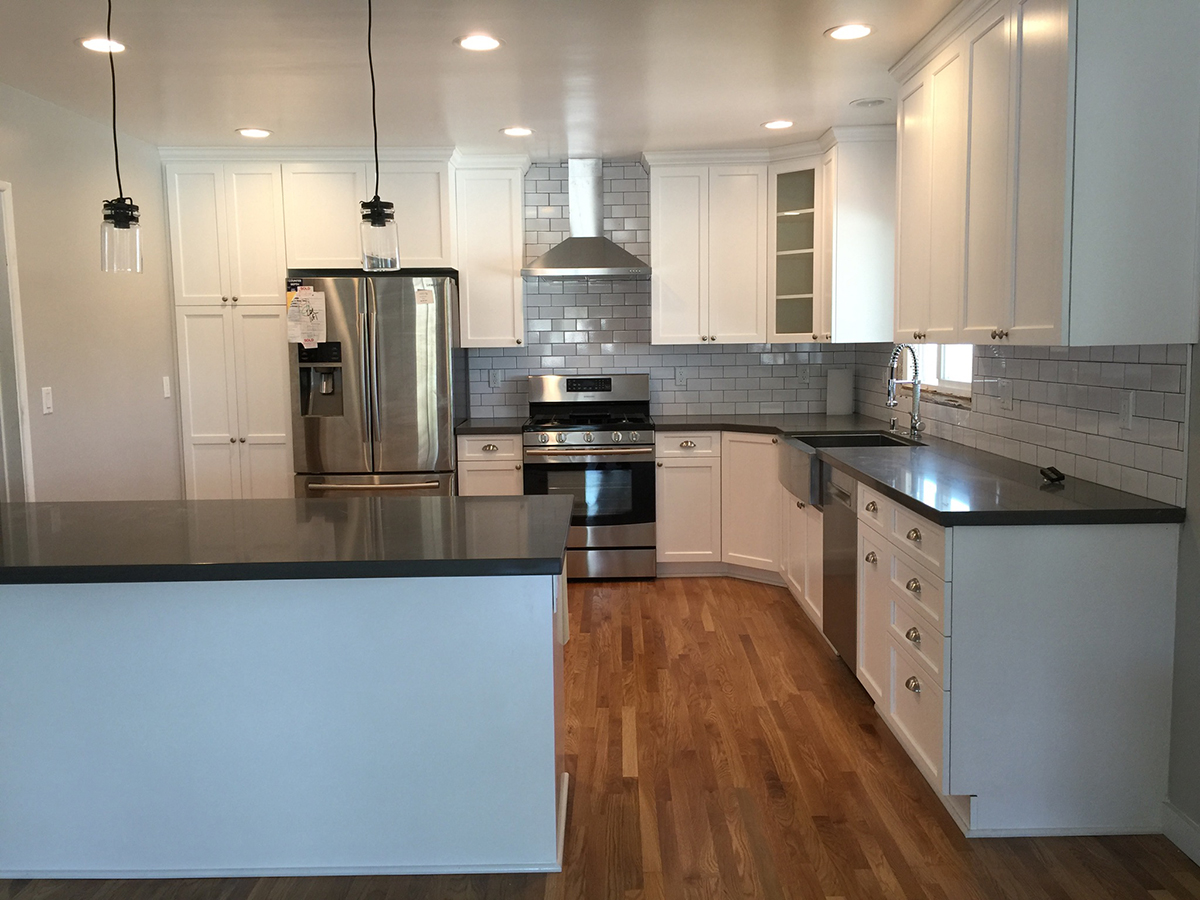 Kitchen Remodel with White Shaker and Charcoal Countertop in Los Angeles CA