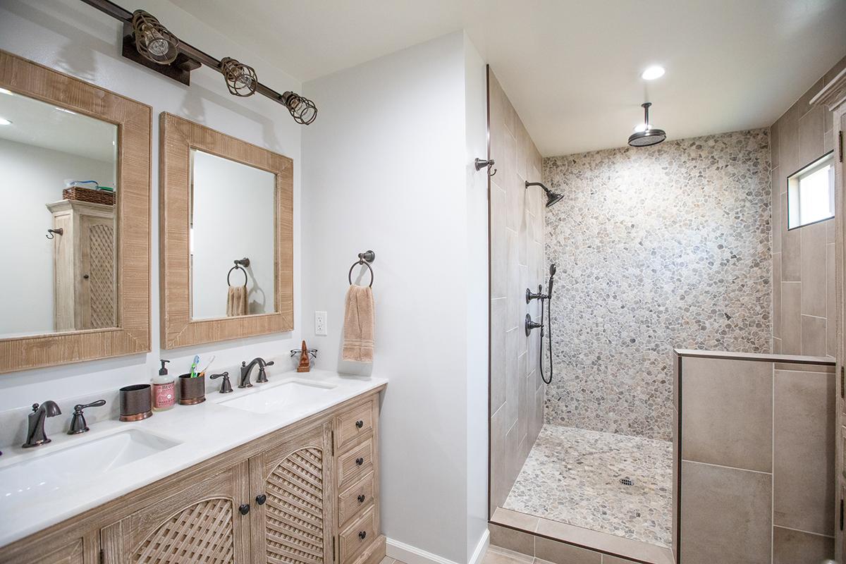 Bathroom Remodel with Bleached Oak Vanity and Mosaic Shower in Van Nuys CA