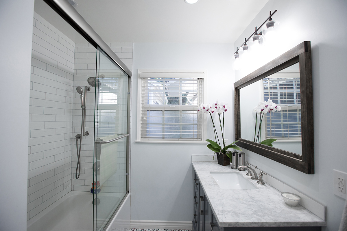 Bathroom Remodel with Mosaic Floor and Grey Vanity in Sherman Oaks CA