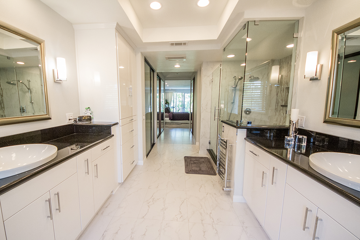 Bathroom Remodel with Large Double vanity and Step-down Tub in Los Angeles CA