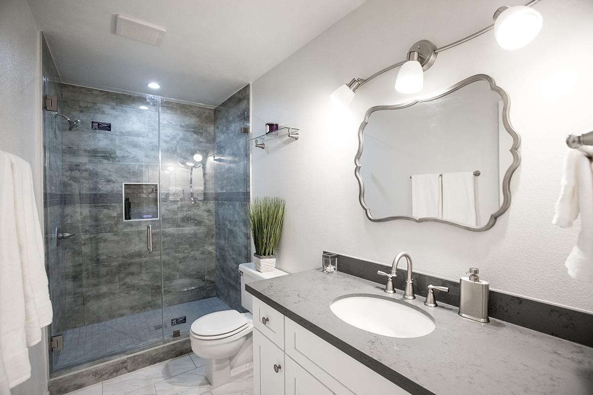 White Cabinets Grey Countertop Tub Conversion in Agoura Hills CA
