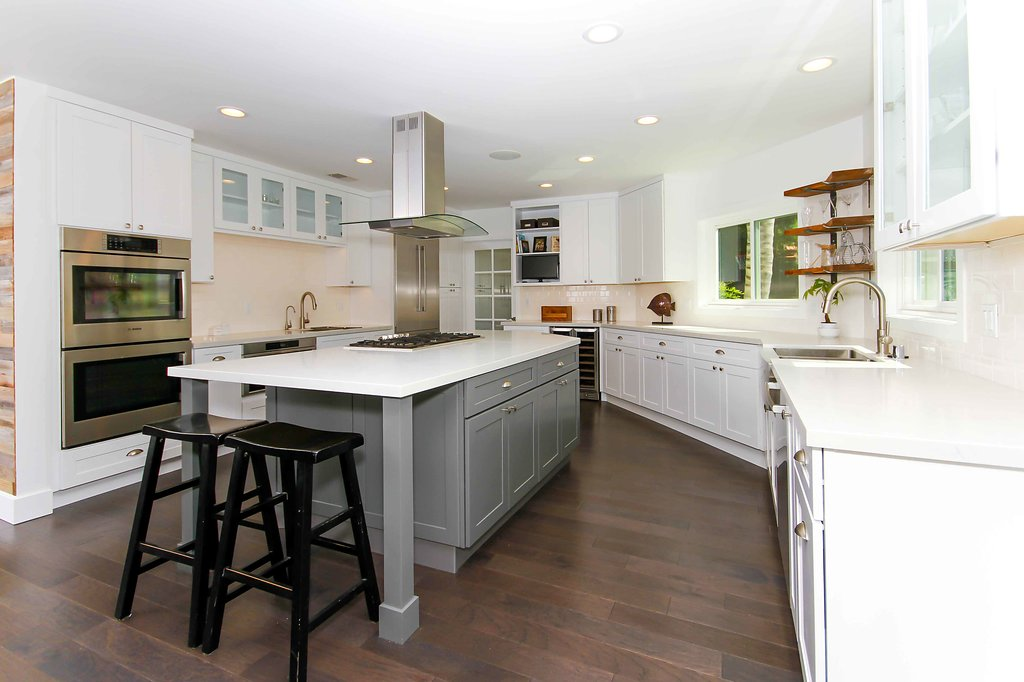 Kitchen Remodel with White Shaker with Island Subway Backsplash in Northridge CA
