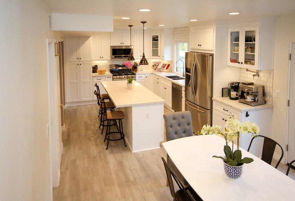 Kitchen Remodel with White Shaker and Subway Backsplash in Northridge CA