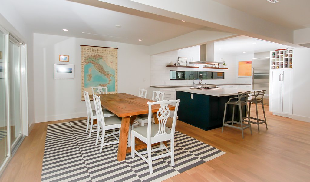 Kitchen Remodel with White Shaker and Turquoise Island in Sherman Oaks CA