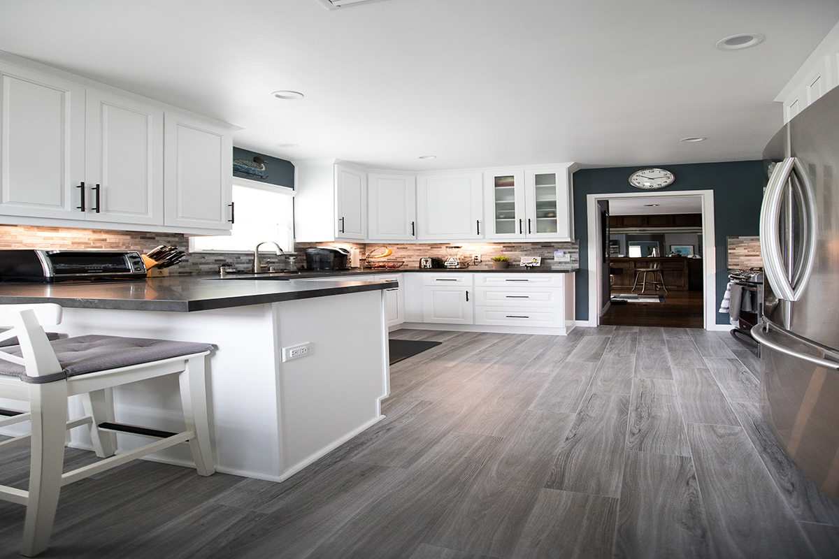 Kitchen Remodel with White Shaker and Grey Quartz Countertop in Sherman Oaks CA